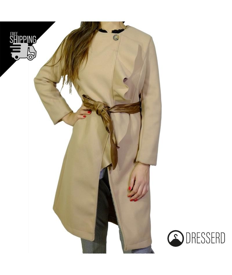 best service 9f31d 3e00c Cappottino cappotto donna con volant e bottone sul collo