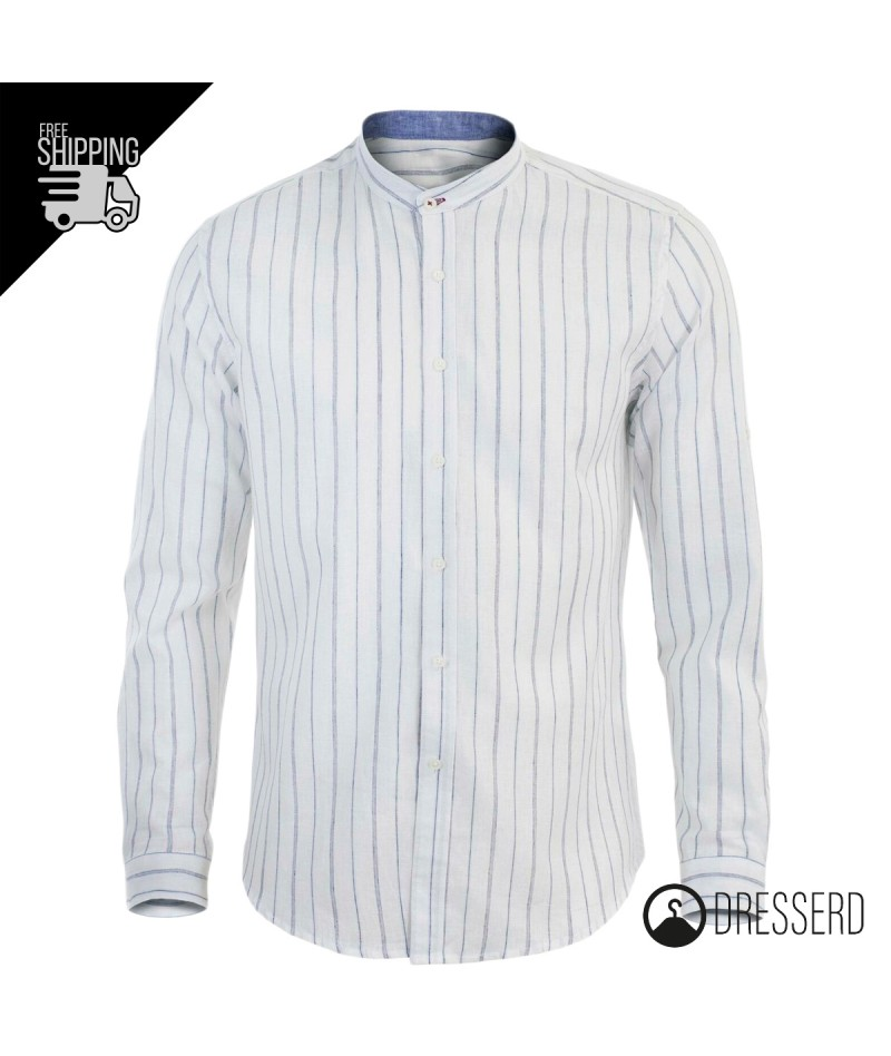 best authentic b48aa bee9e Camicia uomo di lino slim fit, collo coreano