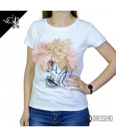 T-shirt donna con fiore...