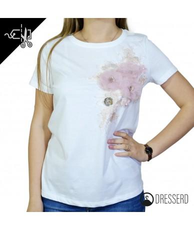 T-shirt in cotone con fiori...