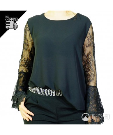 Blusa manica lunga in pizzo