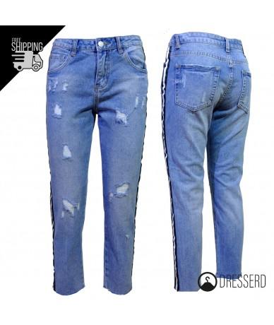 Jeans straight con righe...