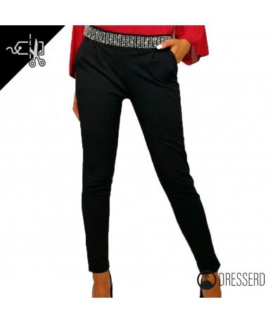 Pantaloni con cintura impreziosita