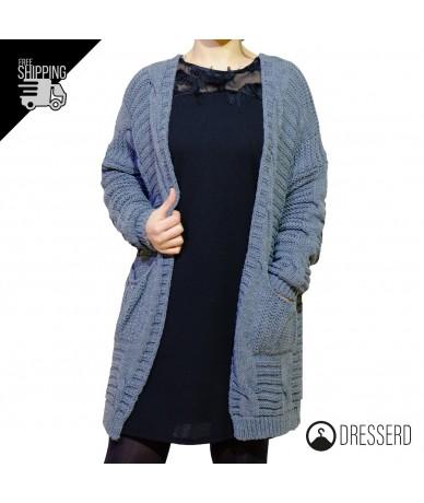 Cardigan donna lungo in maglia
